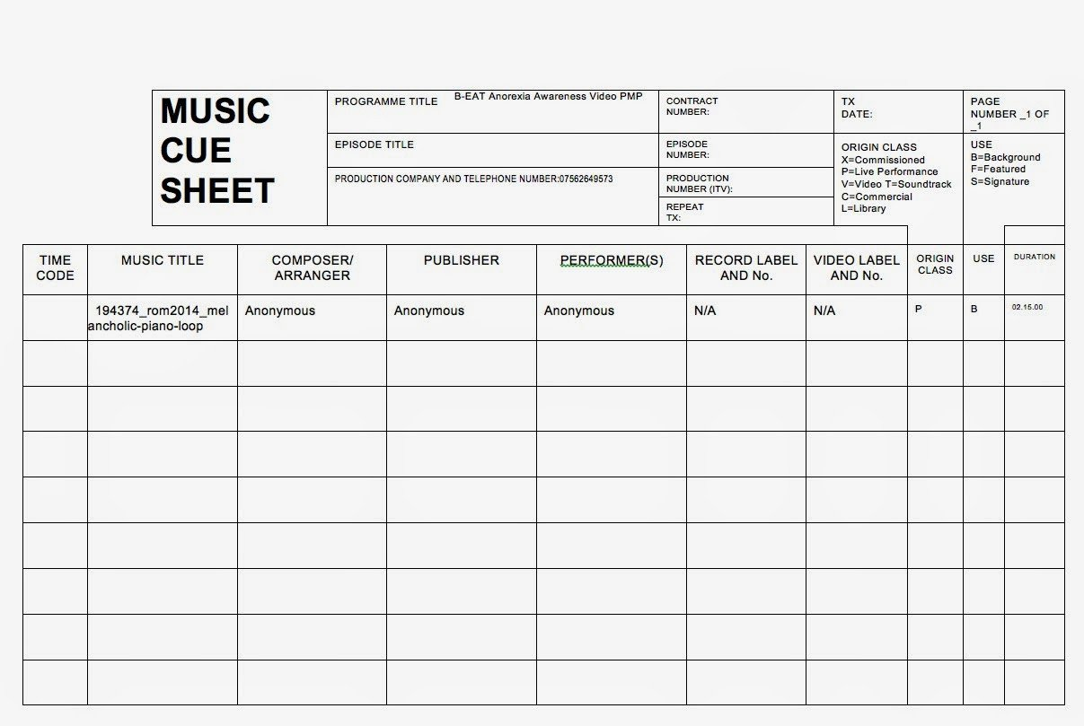 Sound Cue Sheet Template Production Management Project