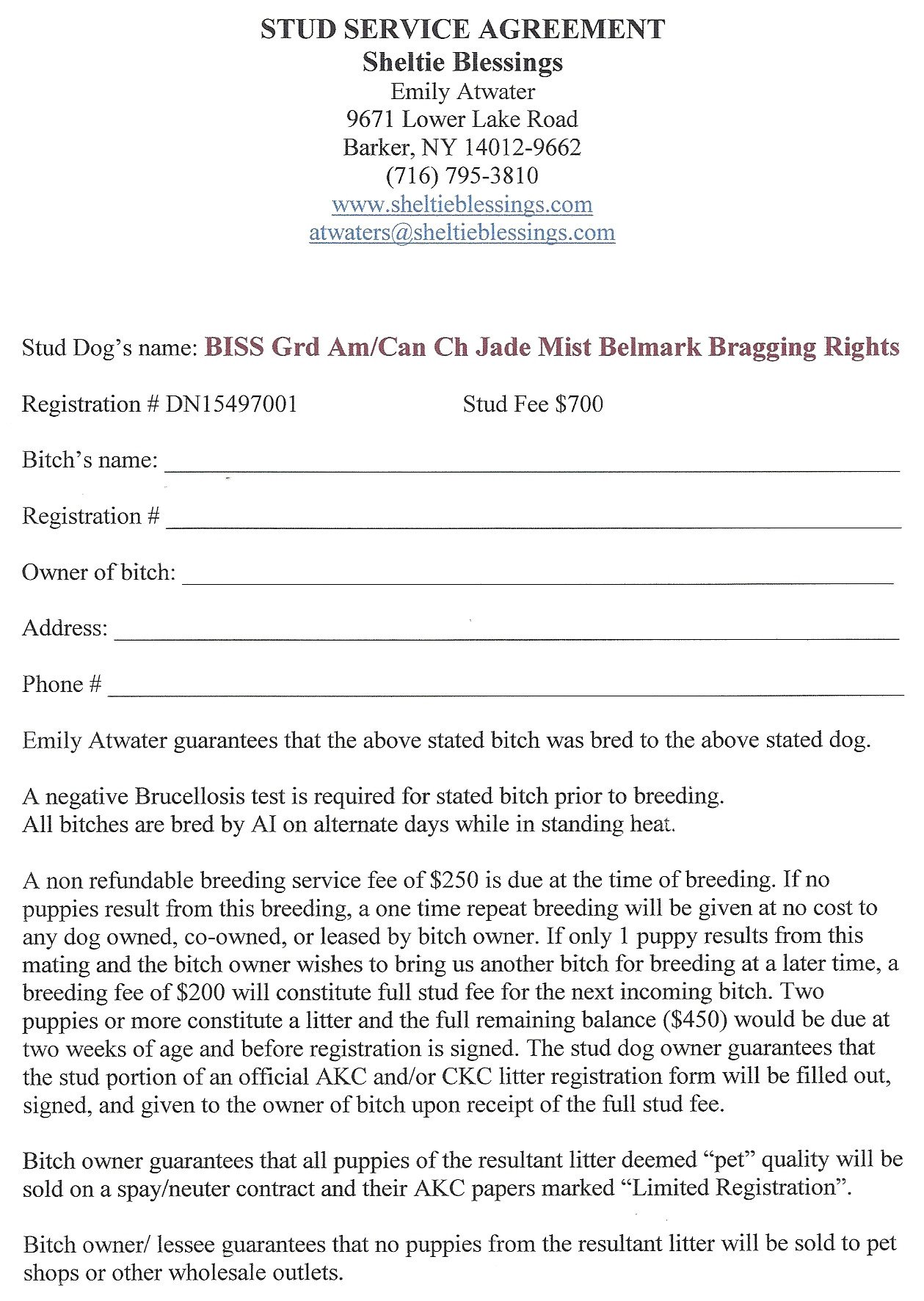 Spay and Neuter Contract Template Ryan
