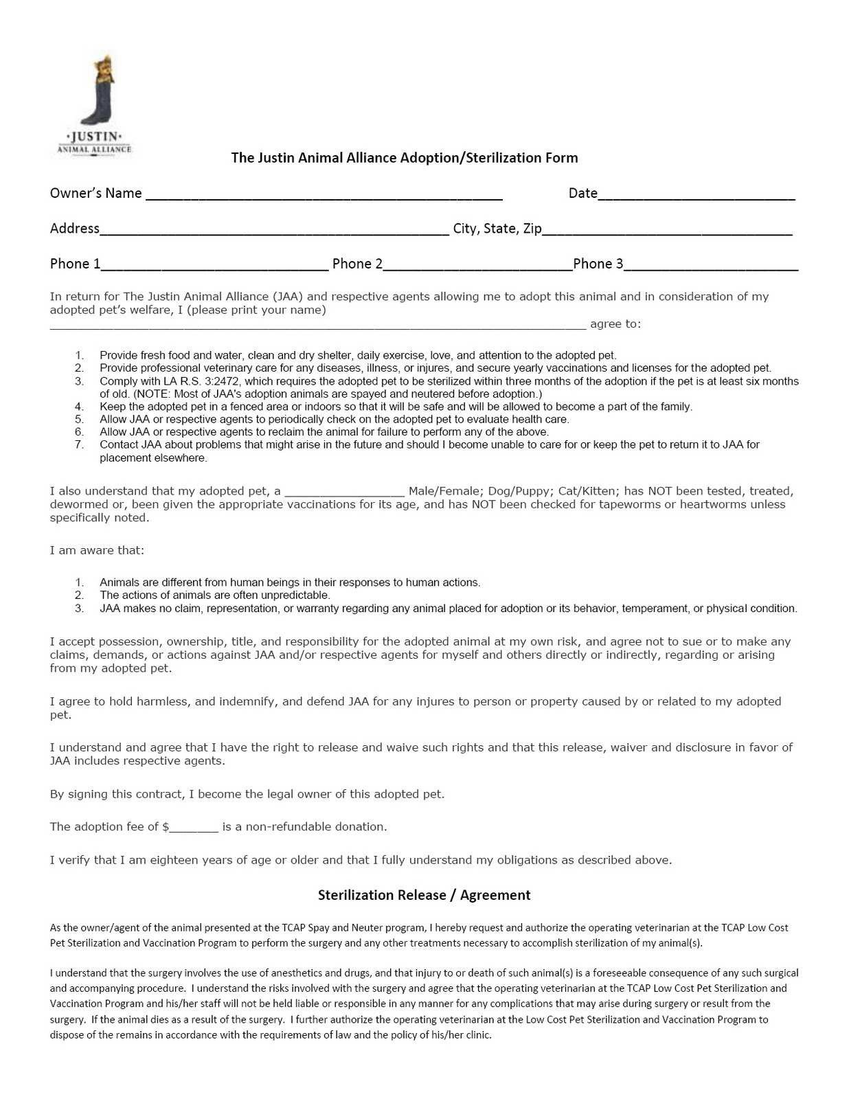 Spay and Neuter Contract Template Spay Neuter Agreement Contract Fast Puppy Application