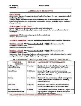 Special Education Lesson Plan Template Mon Core Lesson Plan Template with Danielson Framework