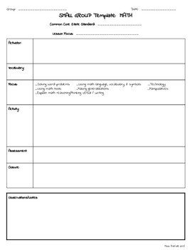 Special Education Lesson Plan Template Small Group Rti Special Education Lesson Plan