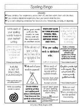Spelling Homework Bingo and Tic Tac Toe Boards