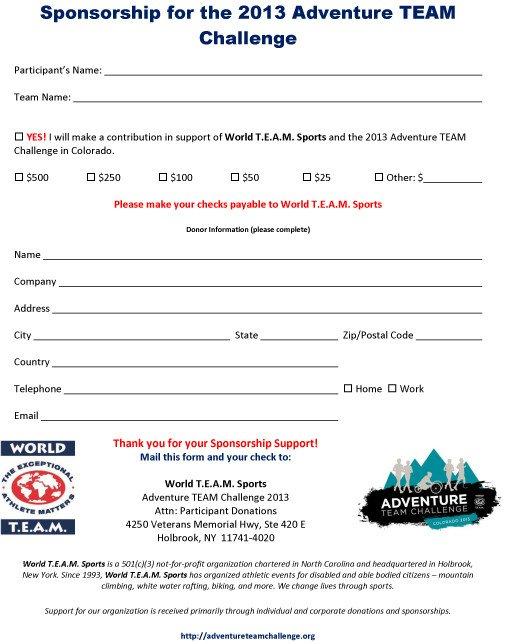 Adventure TEAM Challenge 2013 Participant Sponsorship Form