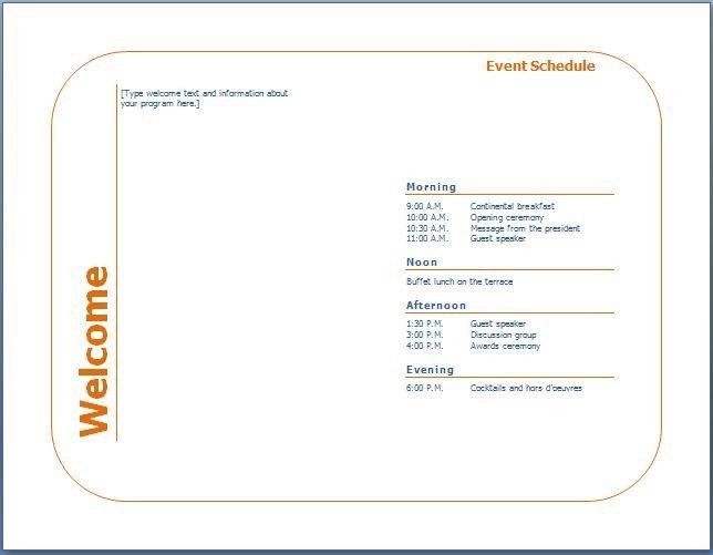 Sports Program Template Microsoft Word Generic event Program Template