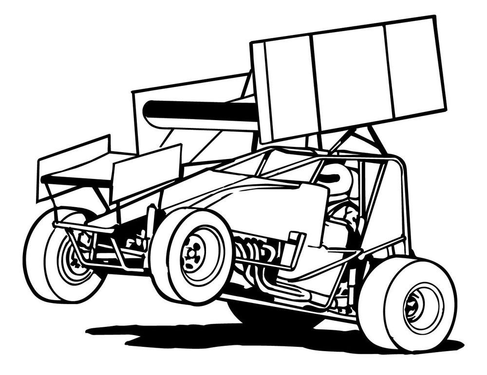 Sprint Car Drawing Race Car Outline Cliparts