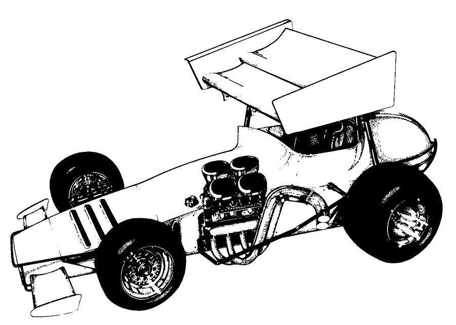 Sprint Car Drawing Sidewinder Sprint Car Drawing by Aj Mueller