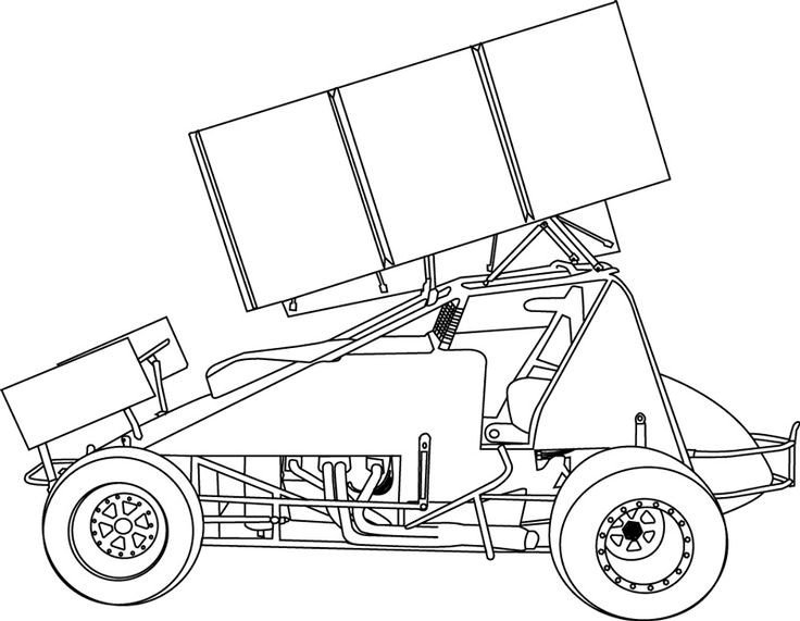 Sprint Car Drawing Sprint Car Coloring Page