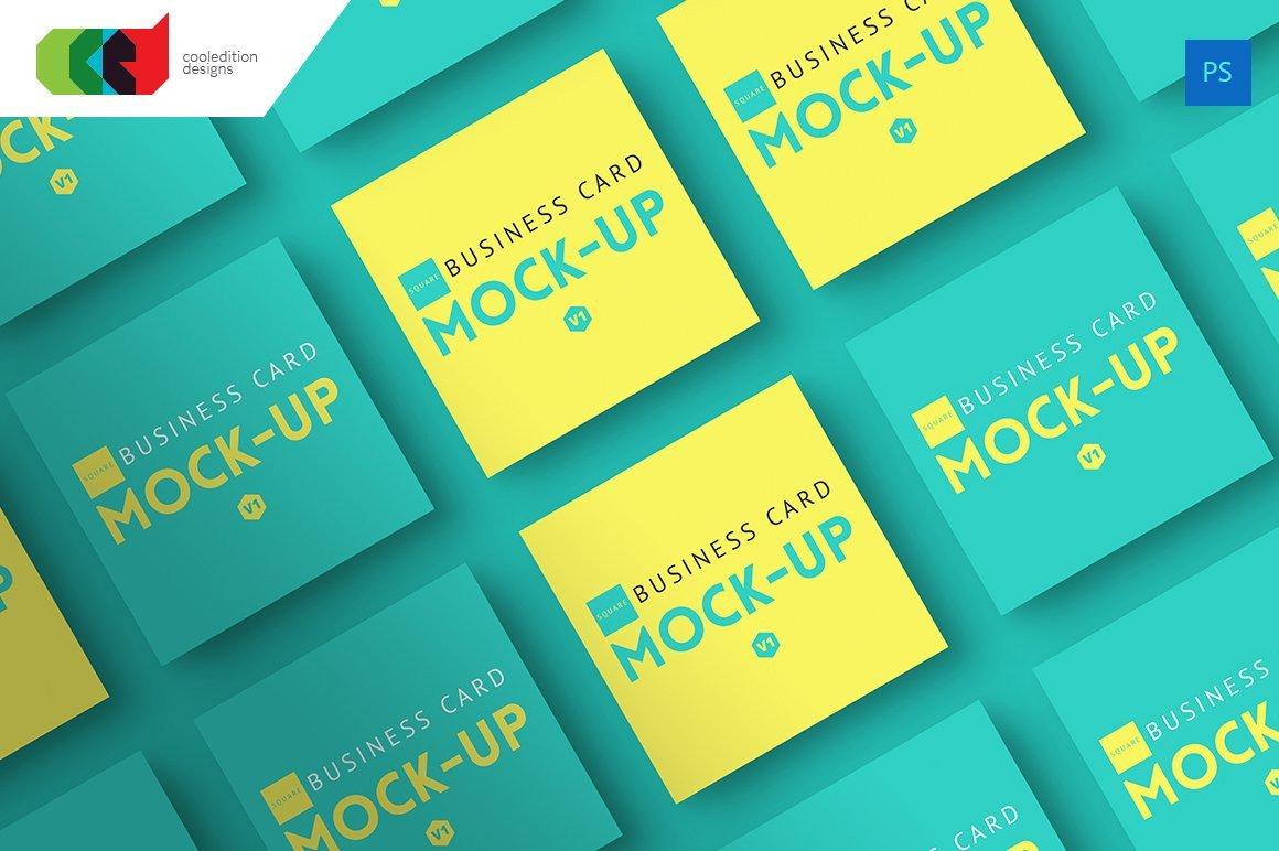 Square Business Card Mock Up V1 Print Mockups