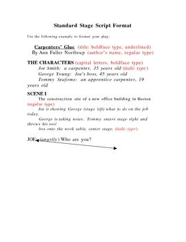 Stage Play format Template Stage Play format Handout by Jeffrey northrup