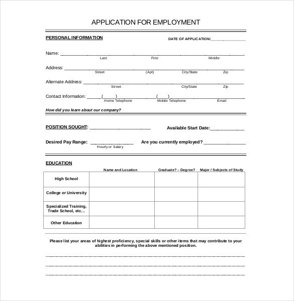 Standard Job Application Template 15 Employment Application Templates – Free Sample