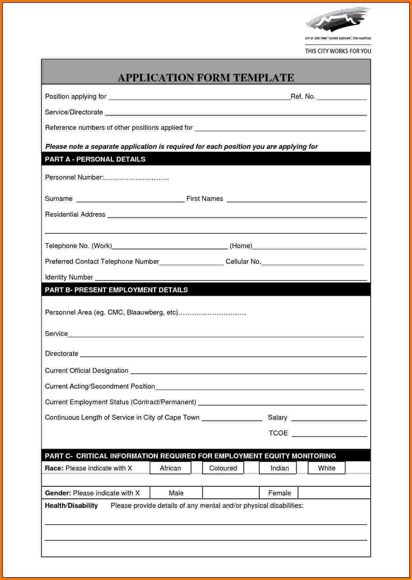 Standard Job Application Template 8 Application form Template