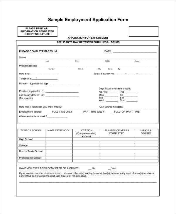 Standard Job Application Template Printable Application forms