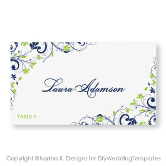Wedding Place Card Template DOWNLOAD INSTANTLY by