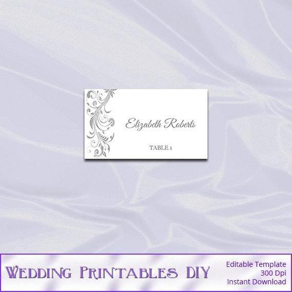 Staples Tent Cards Template Silver Place Card Template Diy Printable Gray Wedding Tent