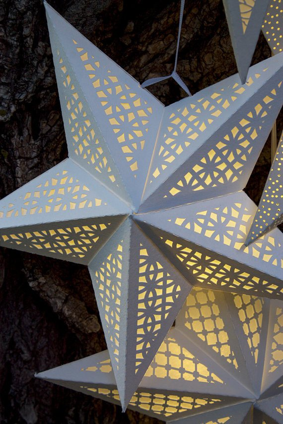 Paper Star Lantern with Lace Cutouts SVG CUTTING FILE