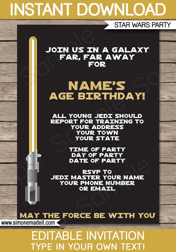 Star Wars Invitation Templates Gold Star Wars Invitations Editable Template