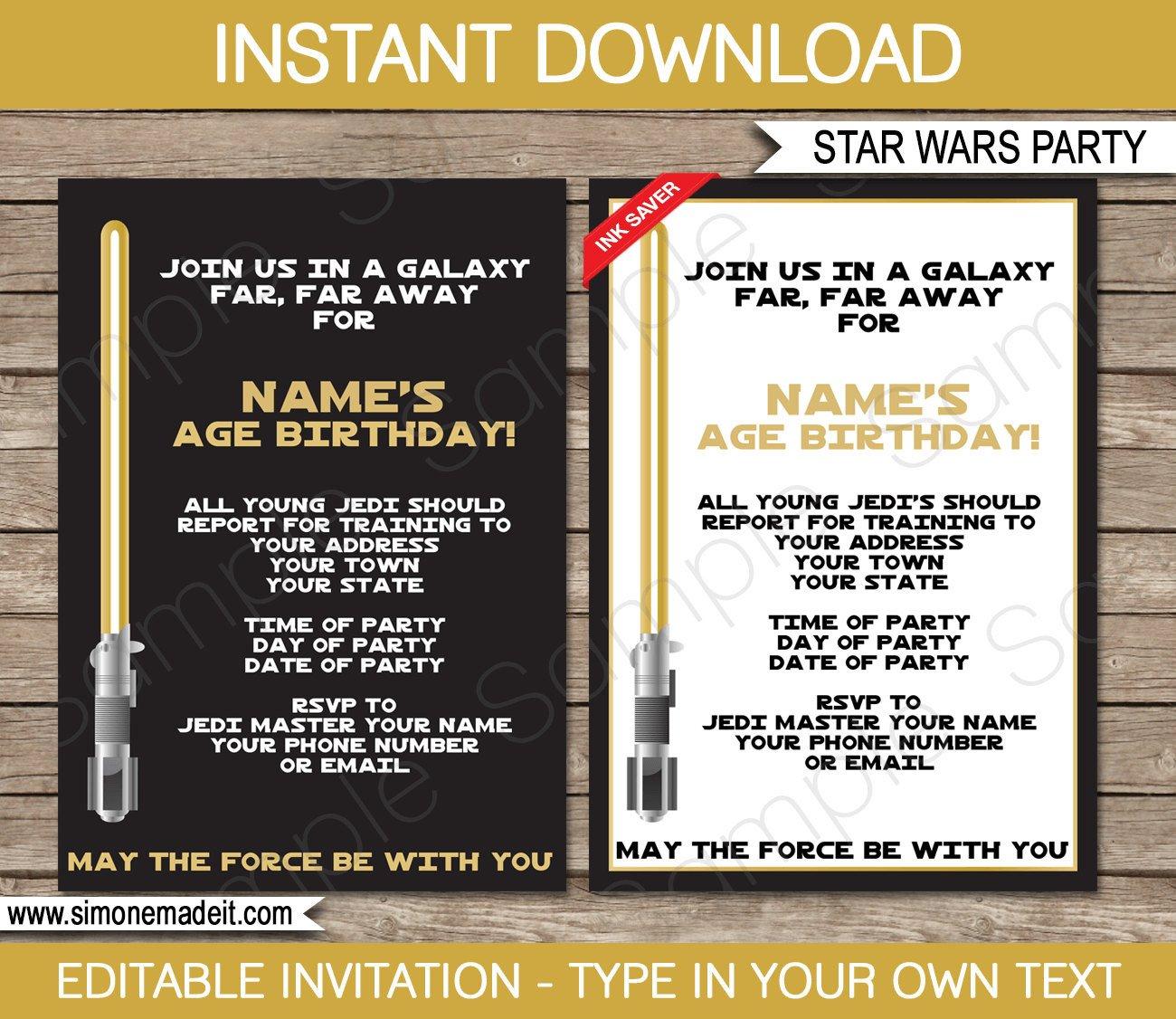 Star Wars Invitation Templates Star Wars Invitation Template Gold Birthday Party
