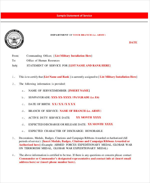 Statement Of Service Army Example 40 Free Service Letters