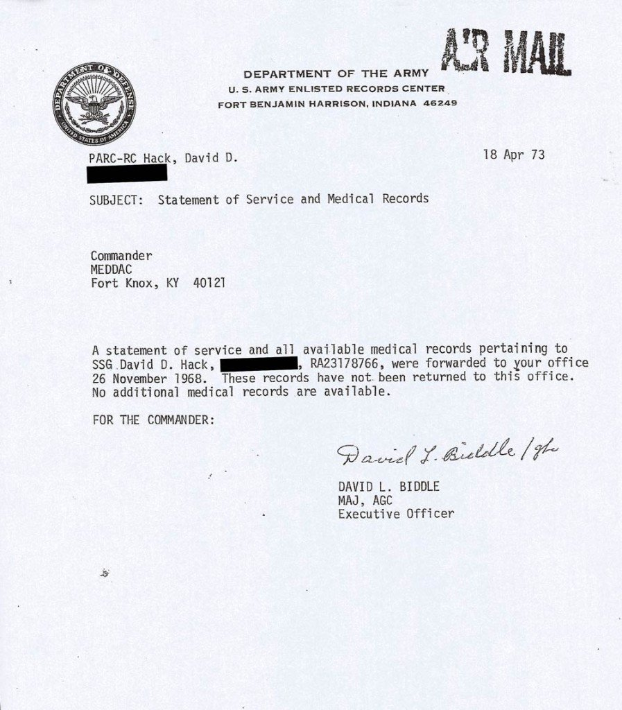 Statement Of Service Army Example Statement Of Service and Medical Records Sgt Hack
