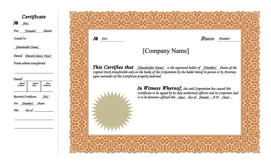 Stock Certificate Templates Word 41 Free Stock Certificate Templates Word Pdf Free