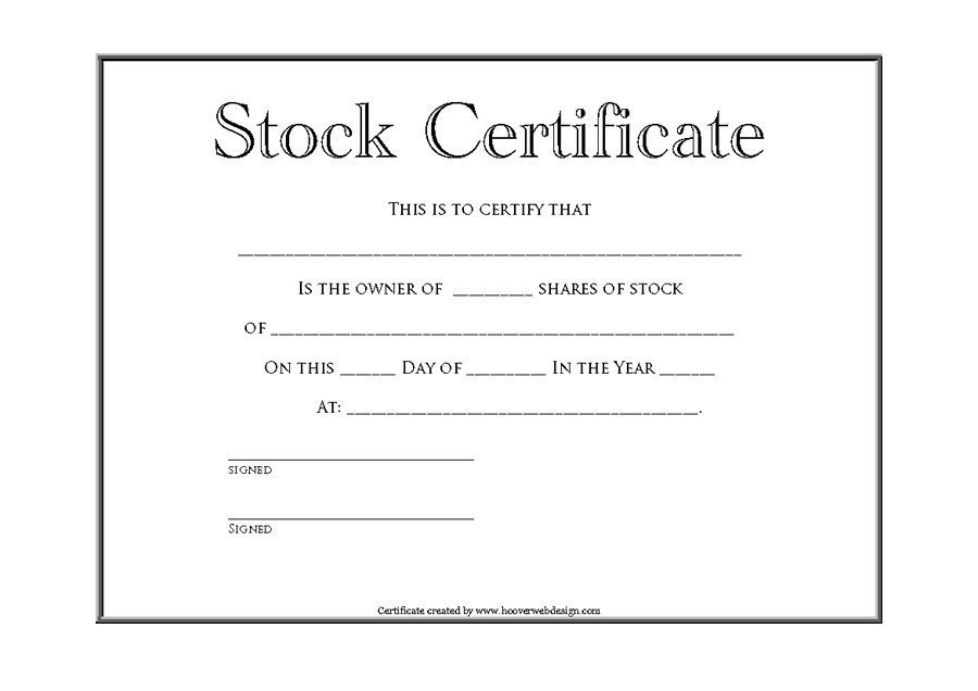41 Free Stock Certificate Templates Word PDF Free