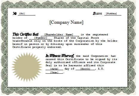 Stock Certificate Templates Word Ms Word Stock Certificate Template