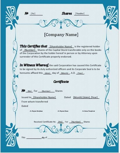 Stock Certificate Templates Word Stock Certificates 2018 Templates for Ms Word