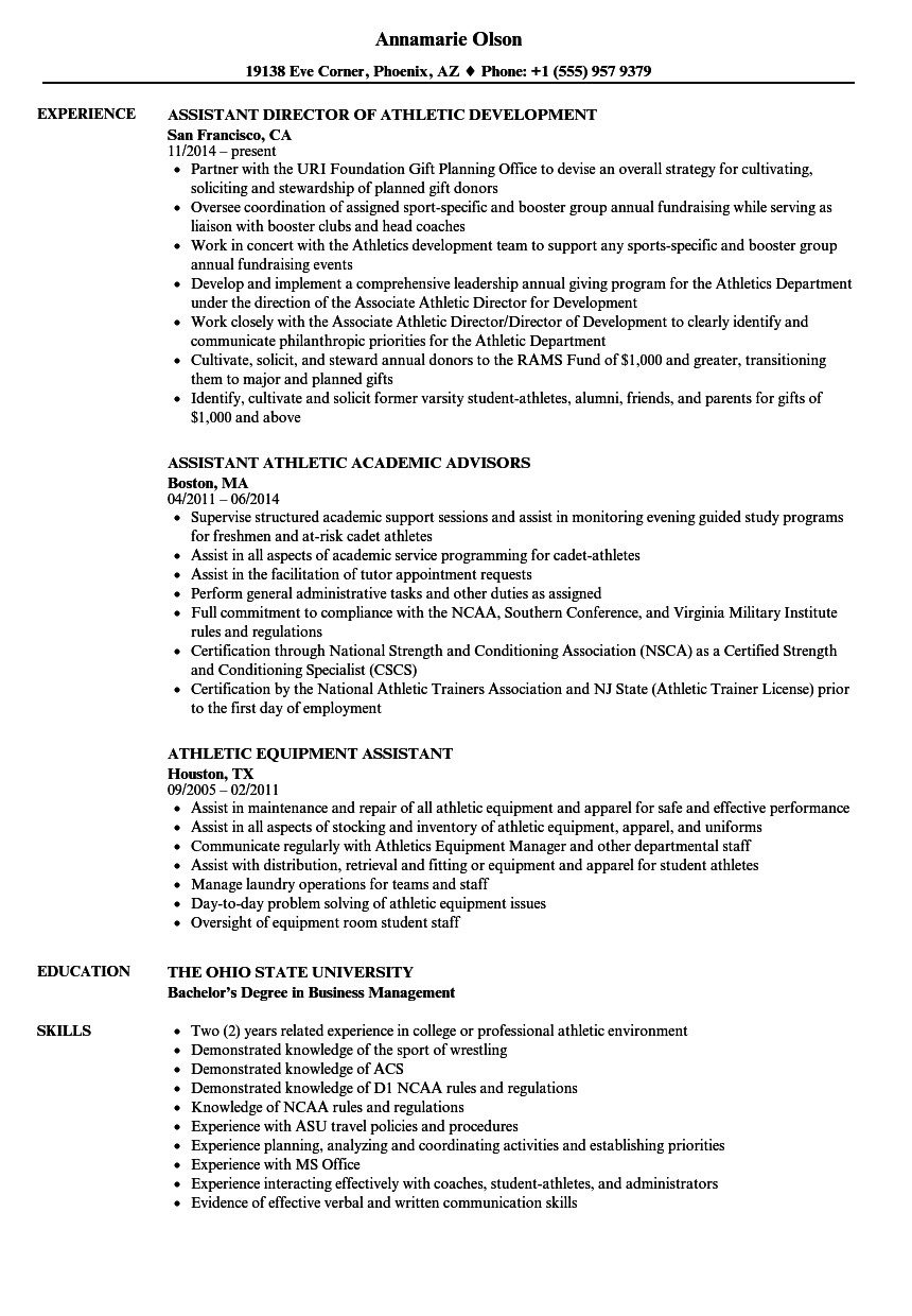 Student athlete Resume Template athlete Resume for College