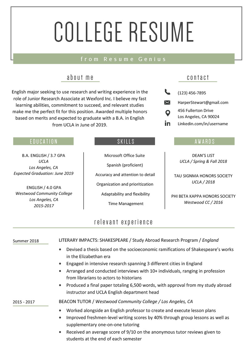 Student athlete Resume Template College Student Resume Sample & Writing Tips