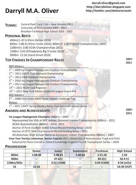 Student athlete Resume Template Darryll Oliver athletic Resume