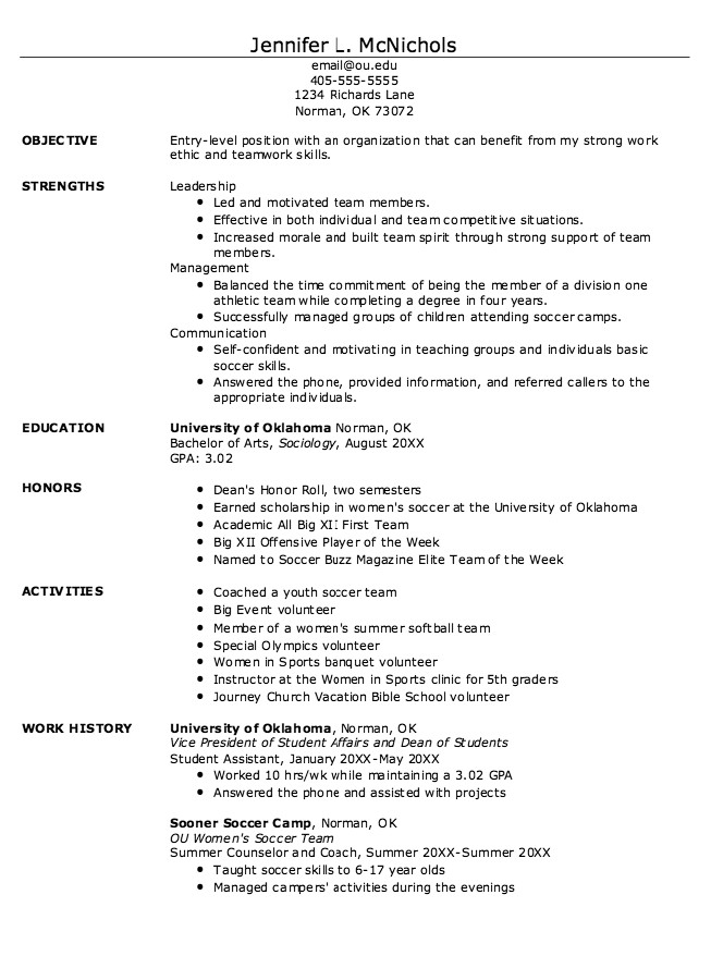 Student athlete Resume Template Pin by Latifah On Example Resume Cv