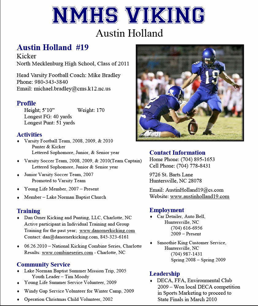 Student athlete Resume Template soccer Player Profile Template Best Games Resource