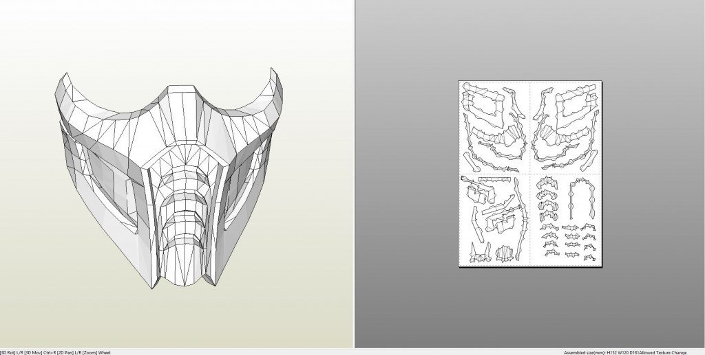 Sub Zero Mask Template Papercraft Pdo File Template for Mortal Kombat Sub Zero