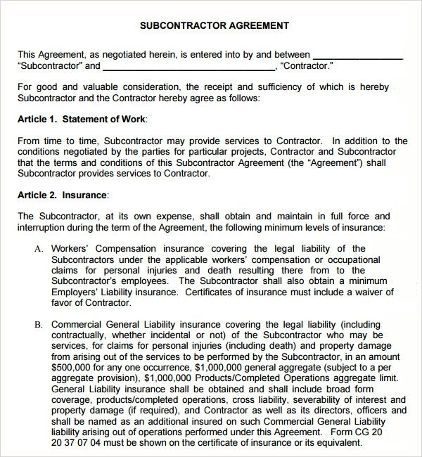 Sample Subcontractor Agreement 17 Free Documents
