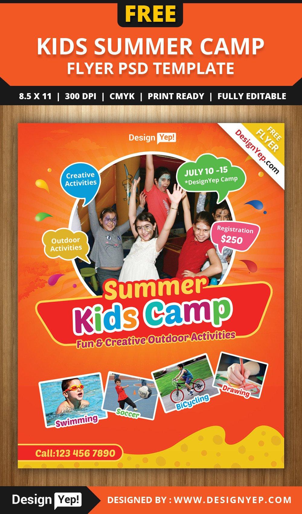 Summer Camp Flyer Template Free Kids Summer Camp Flyer Psd Template On Behance