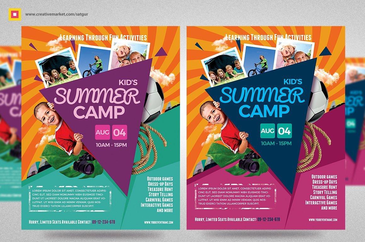 Summer Camp Flyer Template Kids Summer Camp Flyer V3 Flyer Templates Creative Market