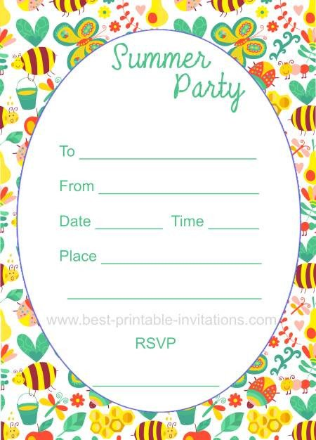 Summer Party Invites Templates Summer Printable Gallery Category Page 1