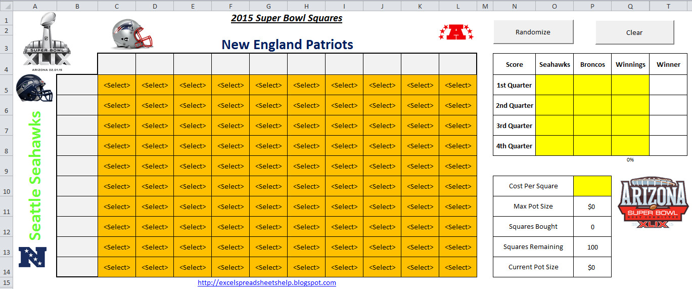 Super Bowl Squares Template Excel Excel Spreadsheets Help 2015 Super Bowl Squares