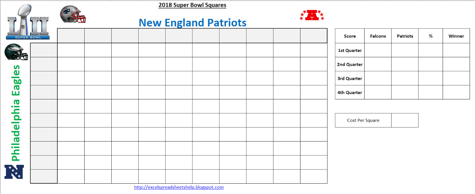 Super Bowl Squares Template Excel Excel Spreadsheets Help