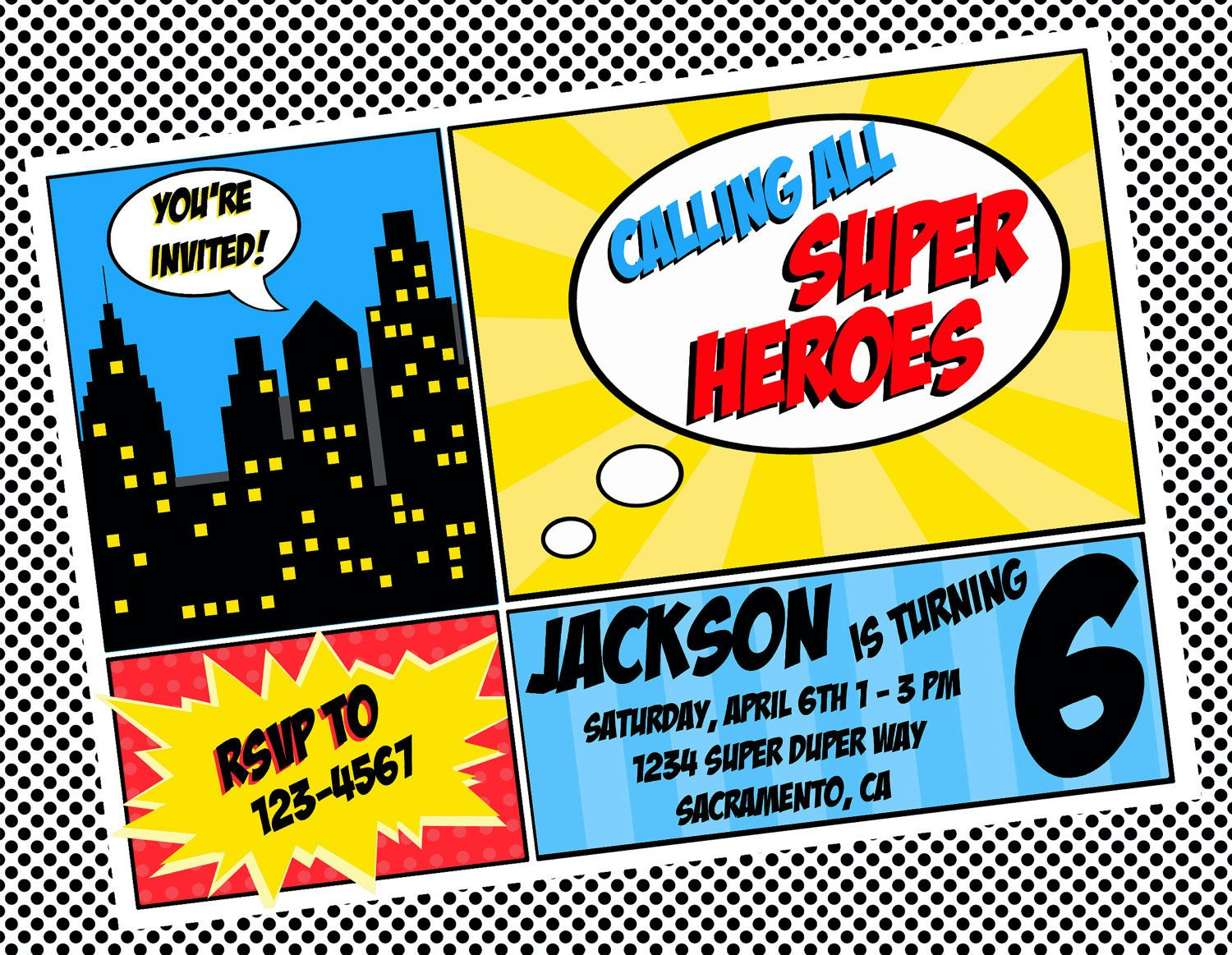 DIY Printable Invitation Super Hero