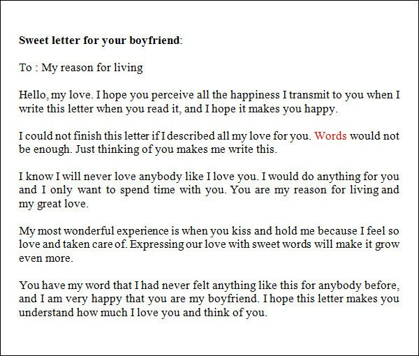 Sample Love Letters to Boyfriend 16 Free Documents in
