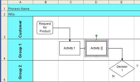 Swim Lane Diagram Template Excel Excel Drawing toolbar & Select Objects 2007 2016