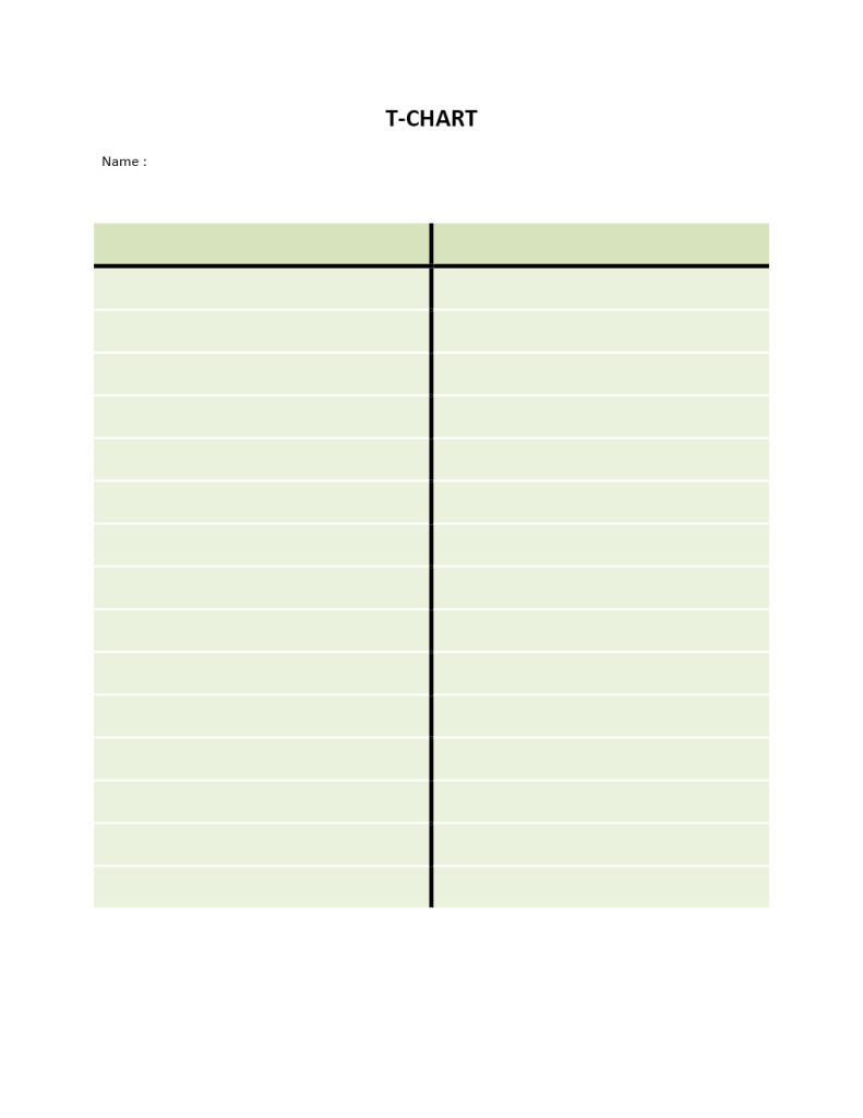T Chart Template Word T Chart