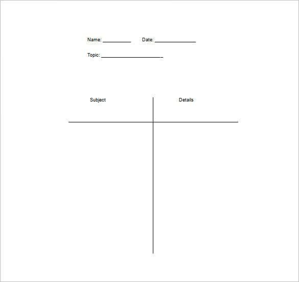 T Chart Template Word T Chart Template