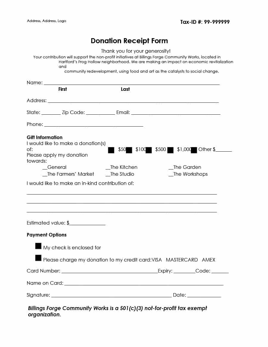 Tax Donation form Template 40 Donation Receipt Templates & Letters [goodwill Non Profit]