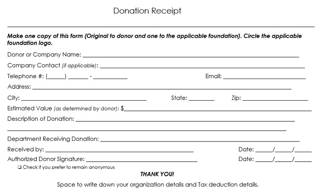 Tax Donation form Template Donation Receipt Template 12 Free Samples In Word and Excel