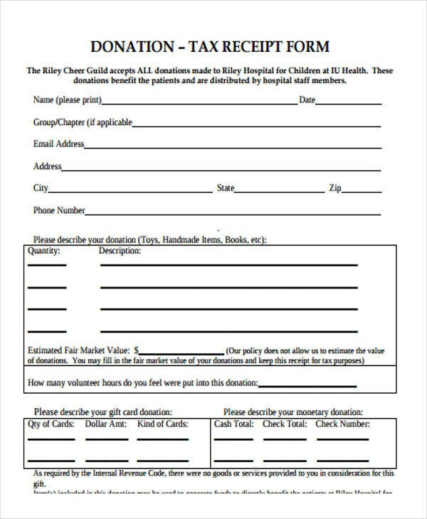 Tax Donation form Template Printable Receipt forms