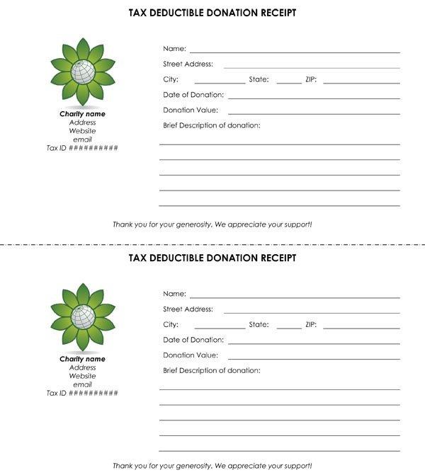 Tax Donation form Template Tax Deductible Donation Receipt