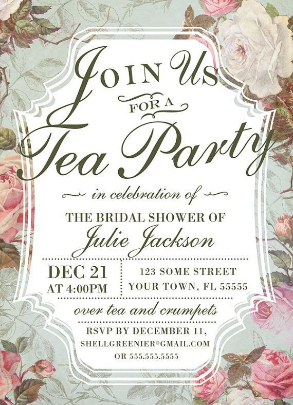 Tea Party Invitation Template Bridal Shower Tea Party Invitation Template Vintage Rose