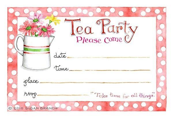 Tea Party Invitations Templates Tea Party Blank Invitations